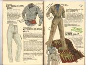 Banana Republic #25, Fall 1985 Women\'s Australian Khaki Jeans, Women\'s Ticking Shirt, Women\'s Flightsuit, Aboriginal Lizard Scarf
