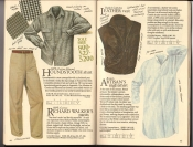 Banana Republic  Catalog #33 Fall 1987 Houndstooth Shirt, Richard Walker\'s Pants, Leather Vest, Artisan\'s Nightshirt