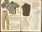 Banana Republic  Catalog #33 Fall 1987 Houndstooth Shirt, Richard Walker\'s Pants, Leather Vest, Artisan\'s Nightshirt