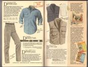 Banana Republic  Catalog #33 Fall 1987 Denim Shirt, Desert Belt, Denim Jeans, Bush Vest