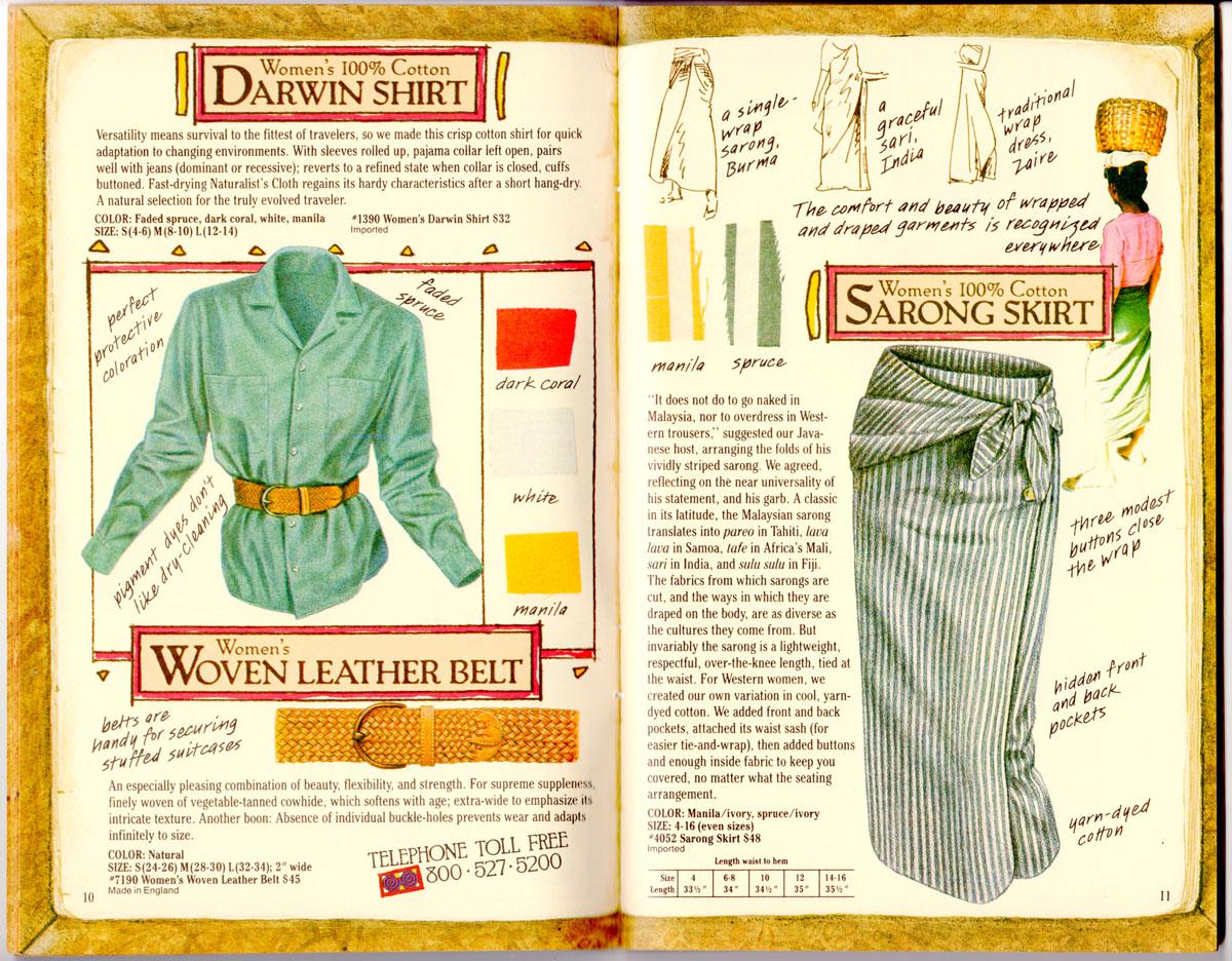 Banana Republic Catalog #35 Darwin Shirt, Woven Leather Belt, Sarong Skirt