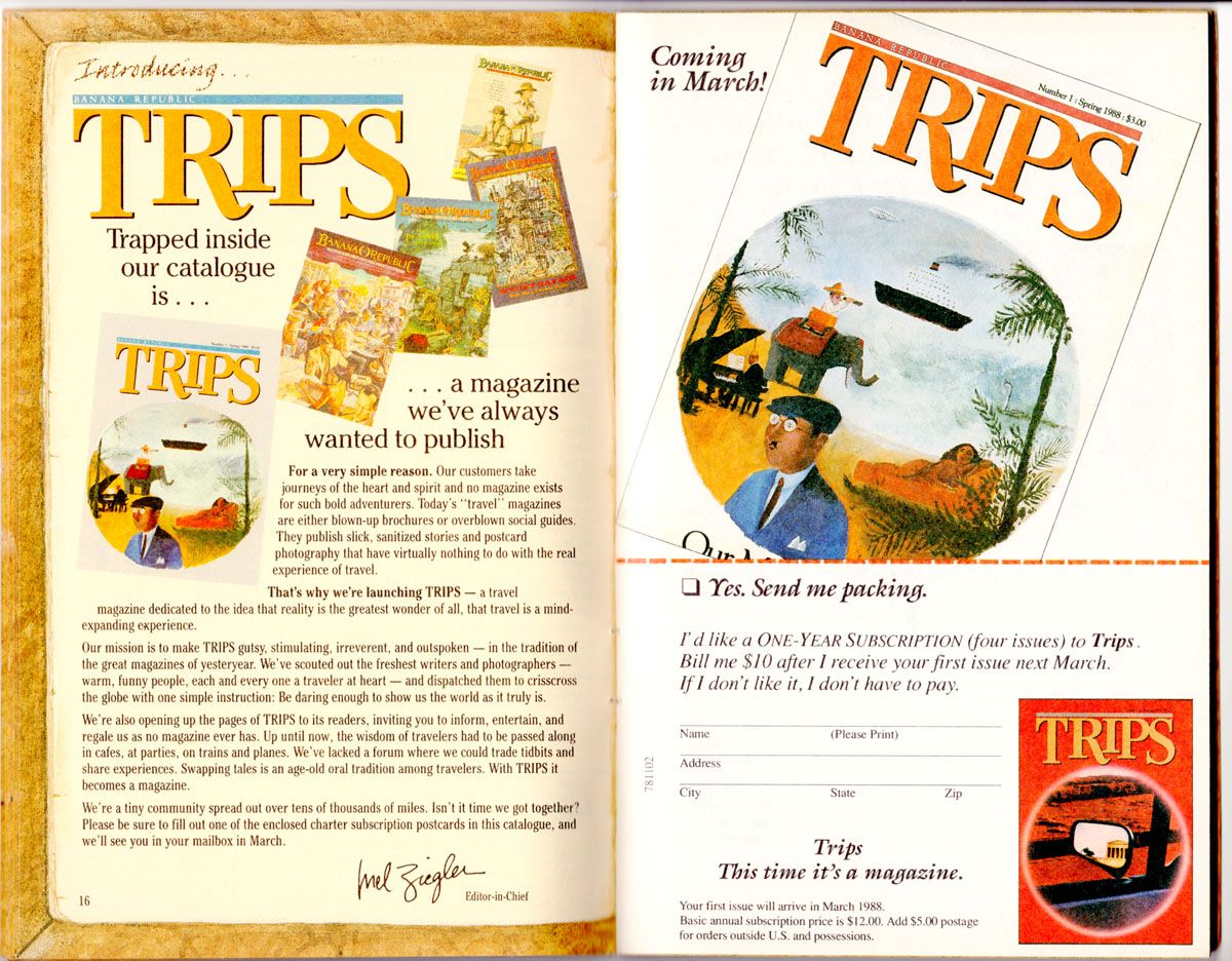 Banana Republic Catalog #35 Trips Magazine Ad