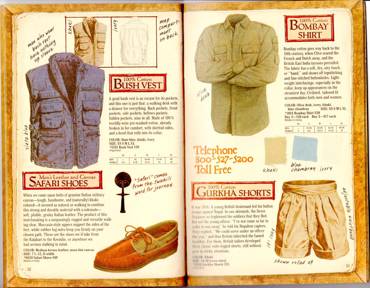 Banana Republic Catalog #35 Bush Vest, Safari Shoes, Bombay Shirt, Gurkha Shorts
