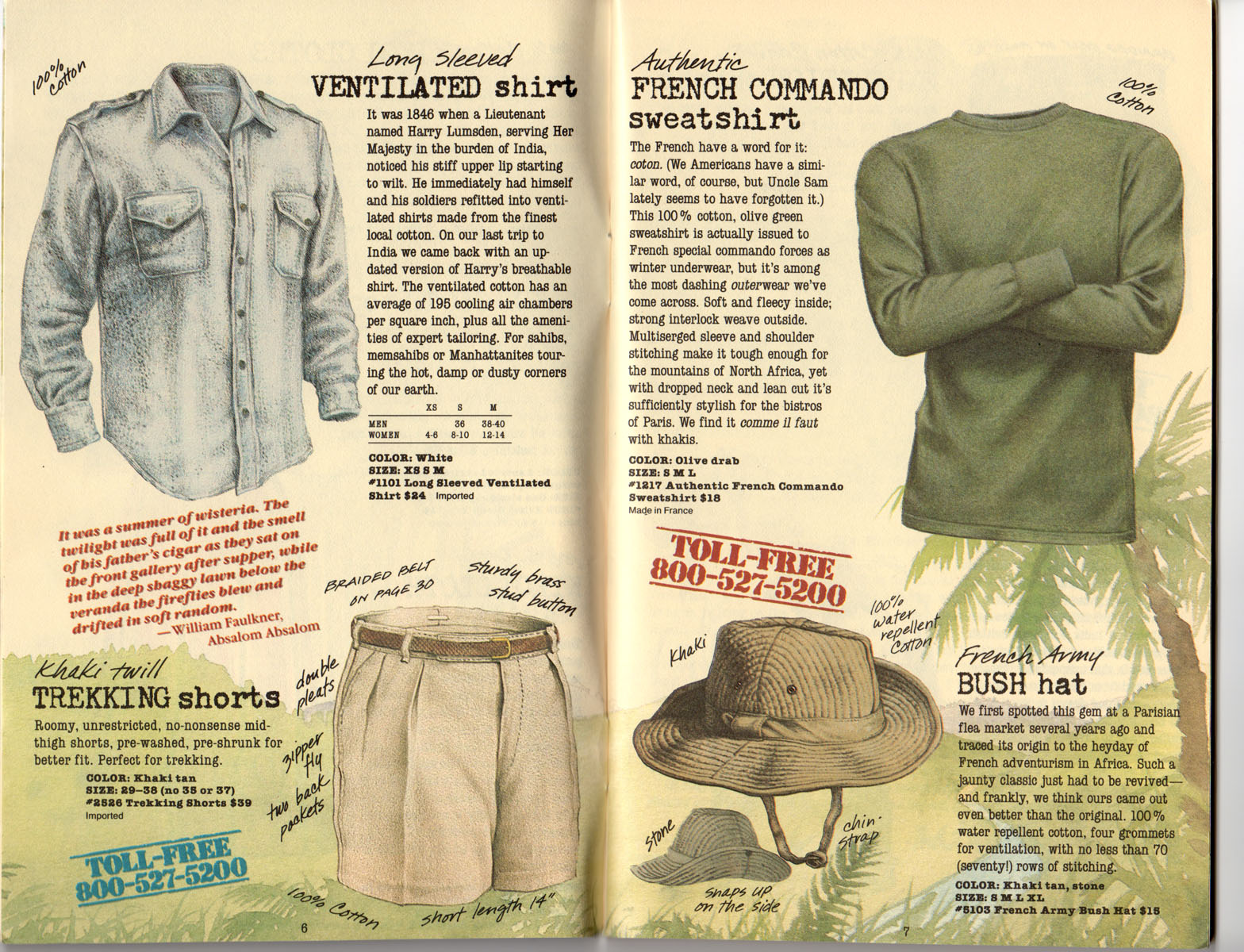Banana Republic Summer 1985 Update #24 Ventilated Shirt, Trekking Shorts, French Commando Sweatshirt, French Army Bush Hat