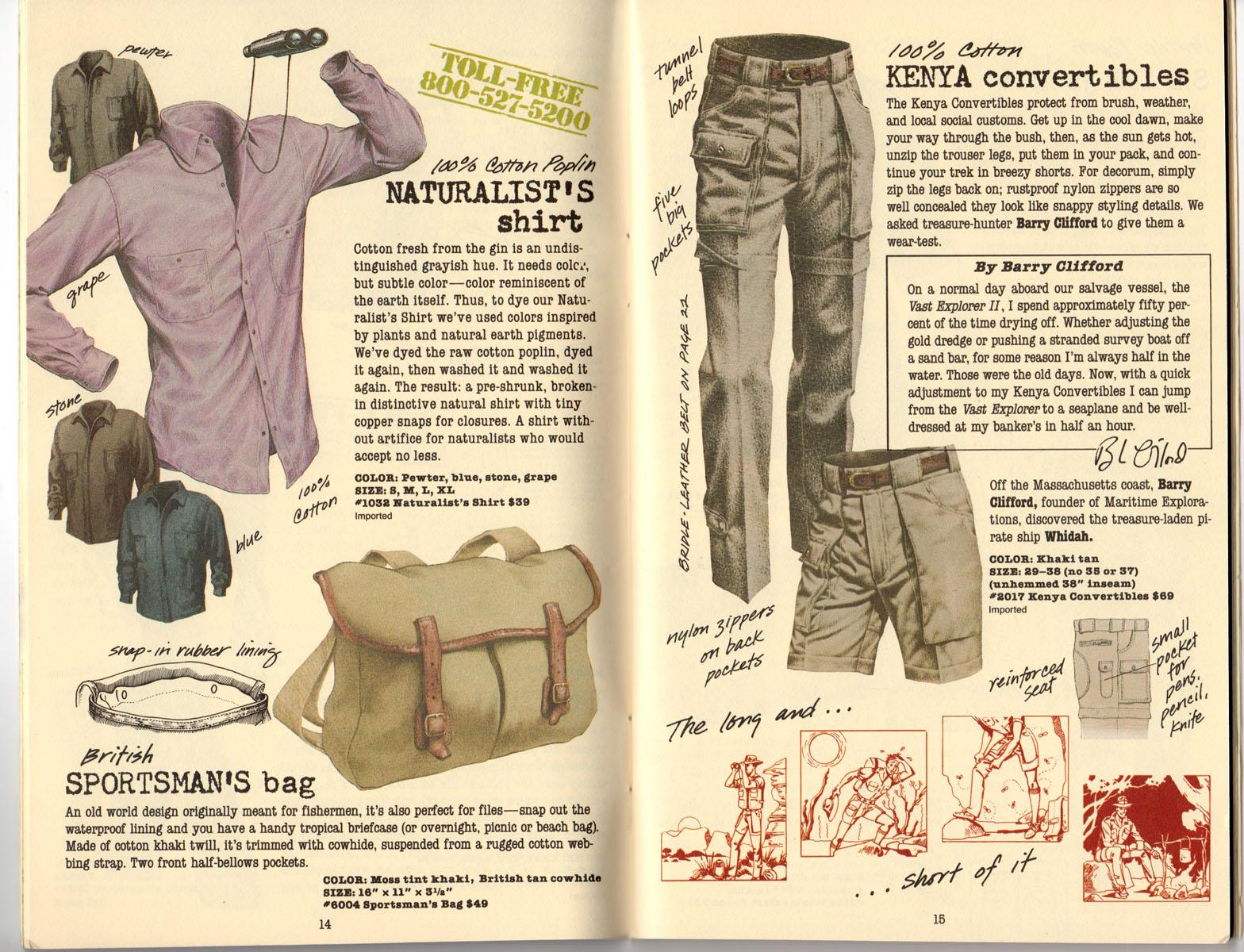Banana Republic Summer 1985 Update #24 Naturalist's Shirt, Sportsman's Bag, Kenya Convertibles