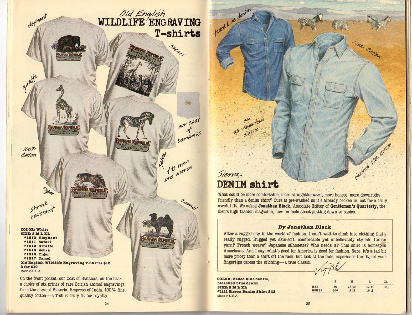 Banana Republic Summer 1985 Update #24 Old English Engraving T-Shirts, Denim Shirt