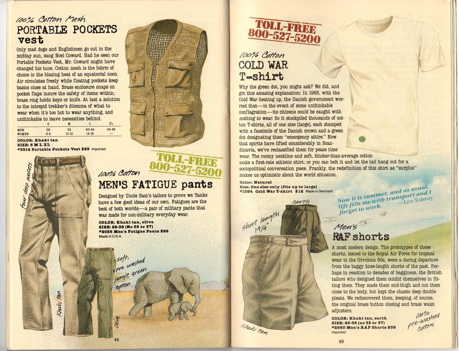 Banana Republic Summer 1985 Update #24 Portable Pockets Vest, Fatigue Pants, Cold Wat T-shirt, RAF Shorts