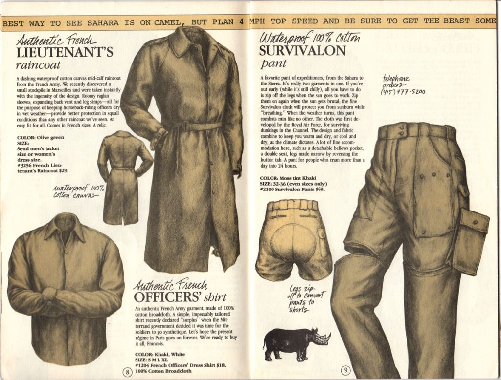 Banana Republic Catalog #15 Fall 1983 French Lieutenant's Raincoat, French Officer's Shirt, Survivalon Pants
