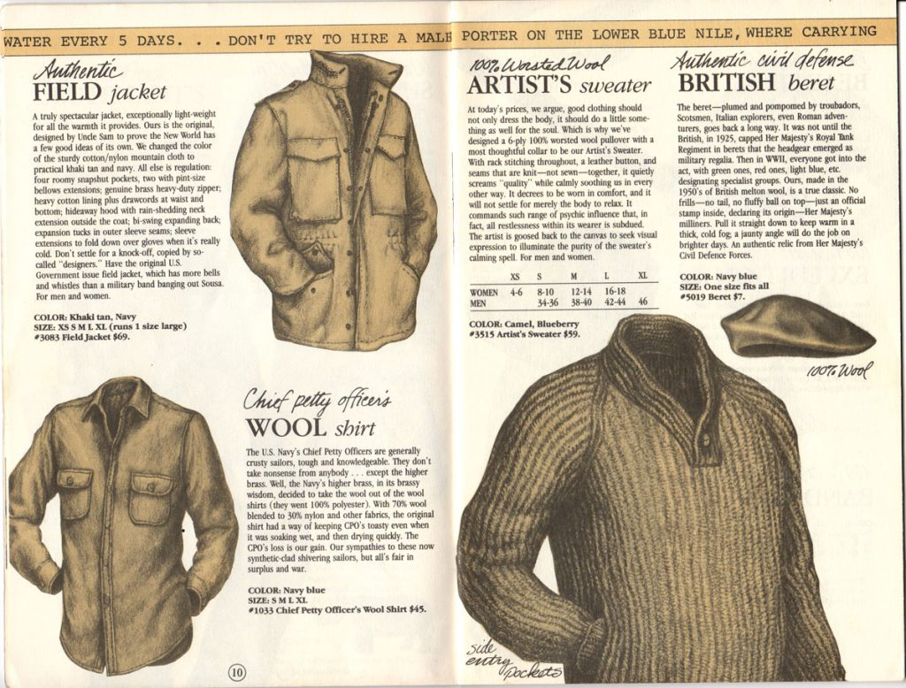 Banana Republic Catalog #15 Fall 1983 Field Jacket, Petty Officer's Wool Shirt, Artist's Sweater, British Beret