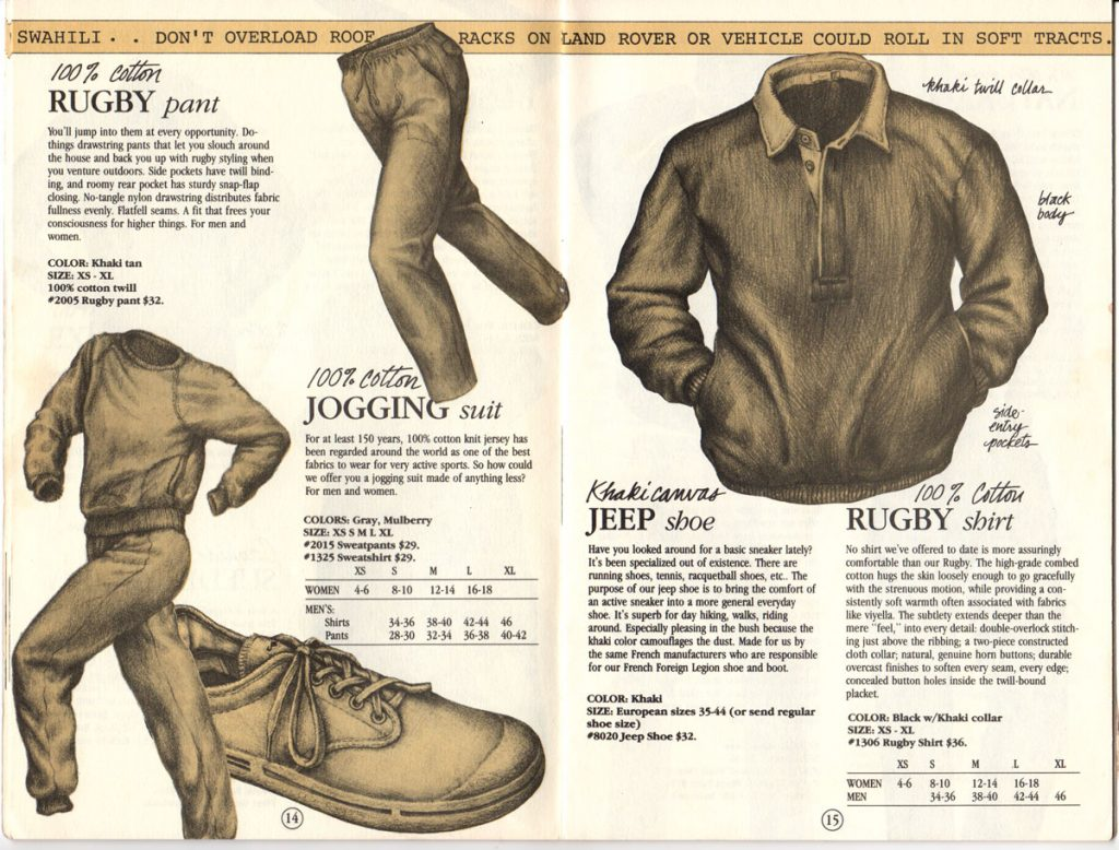 Banana Republic Catalog #15 Fall 1983 Rugby Pant, Jogging Suit, Jeep Shoe, Rugby Shirt