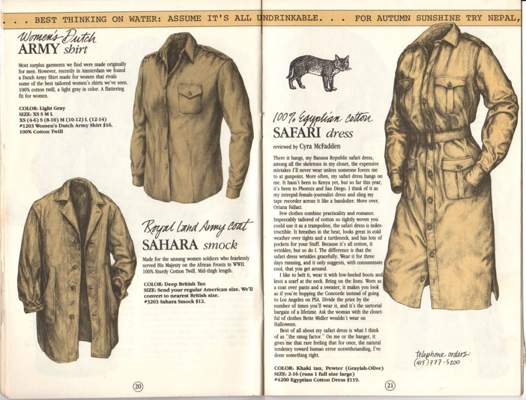 Banana Republic Catalog #15 Fall 1983 Women's Dutch Army Shirt, Sahara Smock, Safari Dress