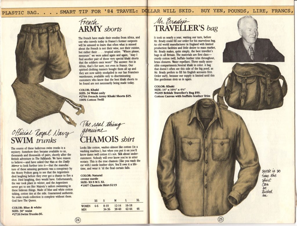 Banana Republic Catalog #15 Fall 1983 French Army Shorts, Royal Navy Swim Trunks, Chamois Shirt, Mr. Brady Traveler's Bag