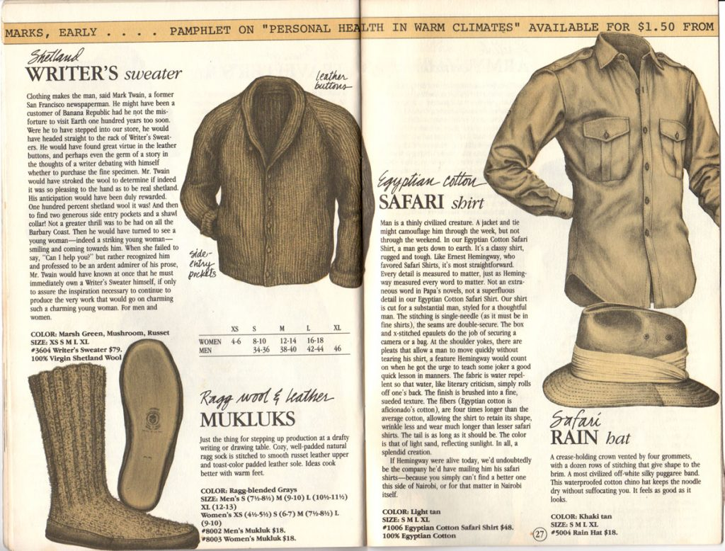 Banana Republic Catalog #15 Fall 1983 Writer's Sweater, Mukluks, Safari Shirt, Safari Rain Hat