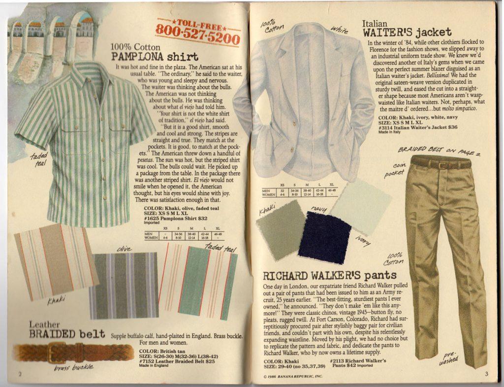 Banana Republic Spring 1987 Pamplona shirt, Italian Waiter's Jacket, Richard Walker's pants, Leather Braided Belt