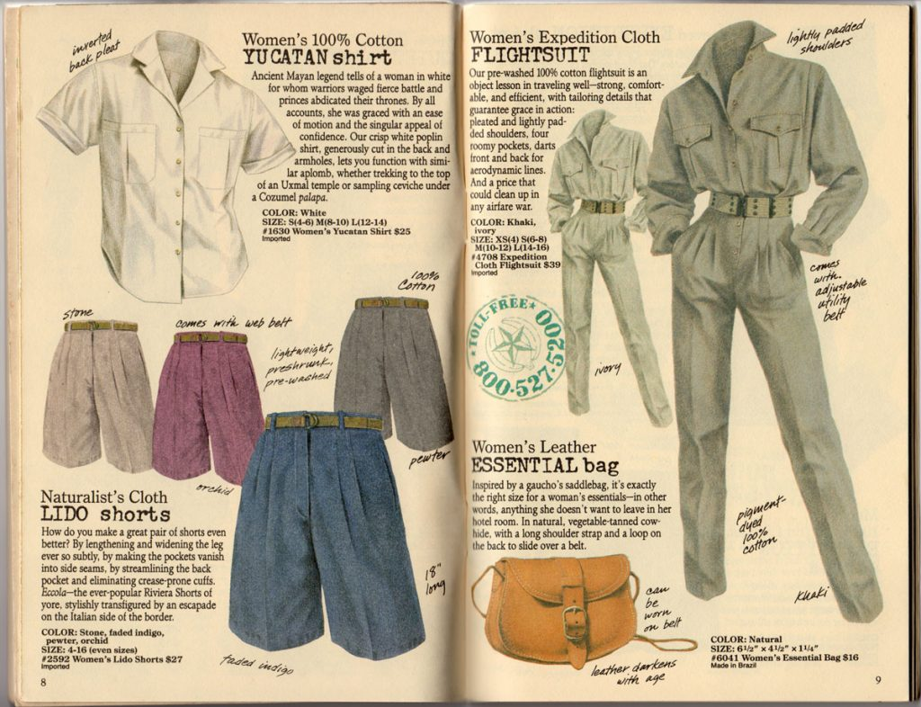 Banana Republic Spring 1987 Yucatan Shirt, Lido Shorts, Flightsuit, Essential Bag