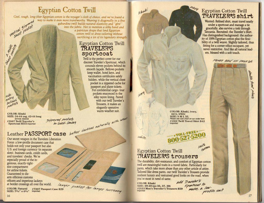Banana Republic Spring 1987 Traveler's Sportcoat, Traveler's Shirt, Traveler's Trousers, Passport Case