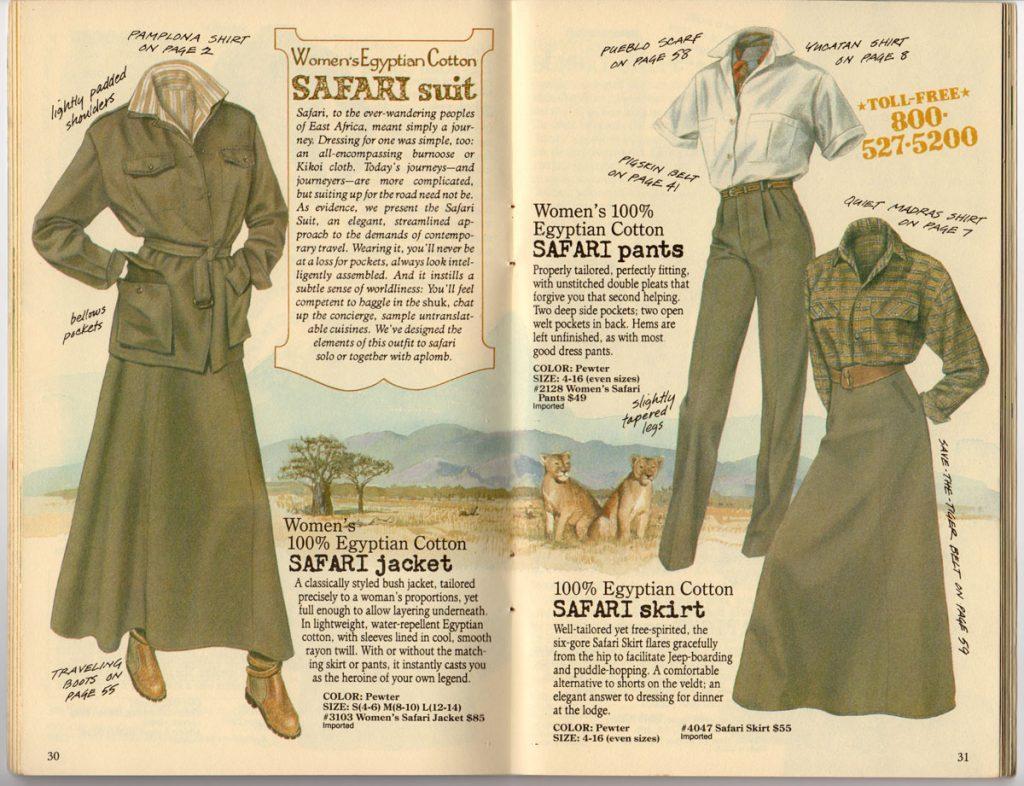 Banana Republic Spring 1987 Women's Safari Jacket, Safari Pants, Safari Skirt
