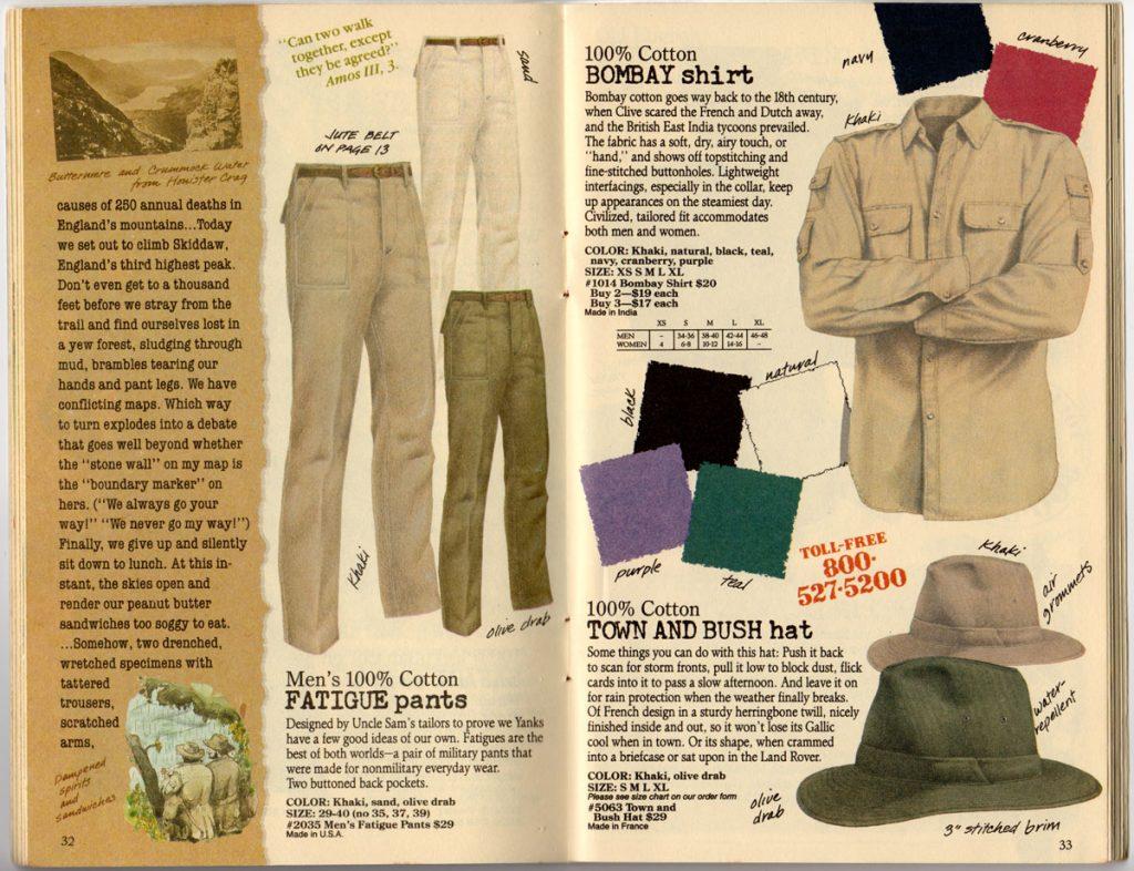Banana Republic Spring 1987  Men's Fatigue Pants, Bombay Shirt, Town and Bush Hat