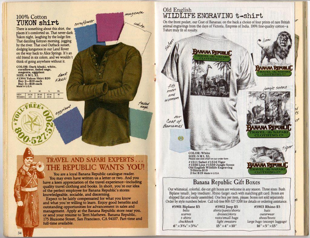 Banana Republic Spring 1987 Yukon Shirt, Old English WIldlife Engraving t-shirt