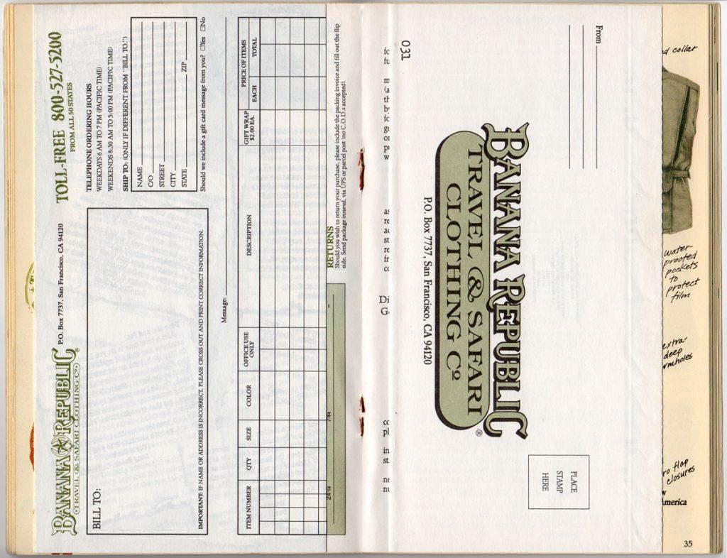 Banana Republic Spring 1987 Mail Order Form