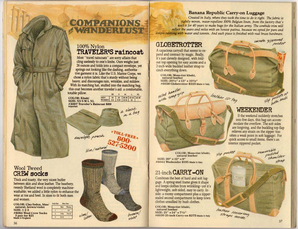 Banana Republic Spring 1987 Traveller's Raincoat, Crew Socks, Globetrotter, Weekender, Carry On Luggage