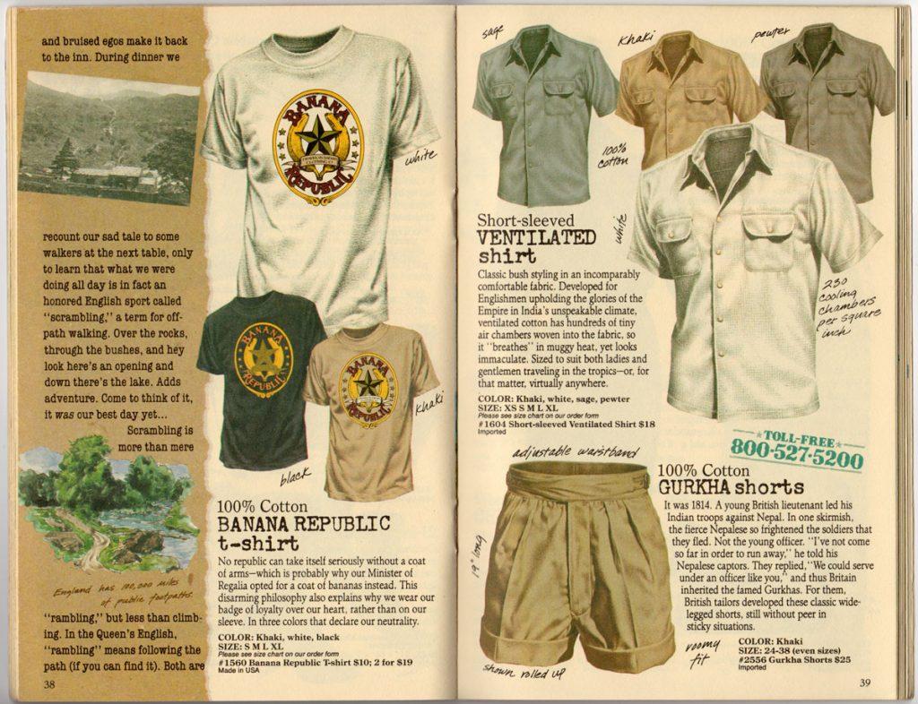 Banana Republic Spring 1987 Banana Republic T-Shirt, Ventilated Shirt, Gurkha Shorts