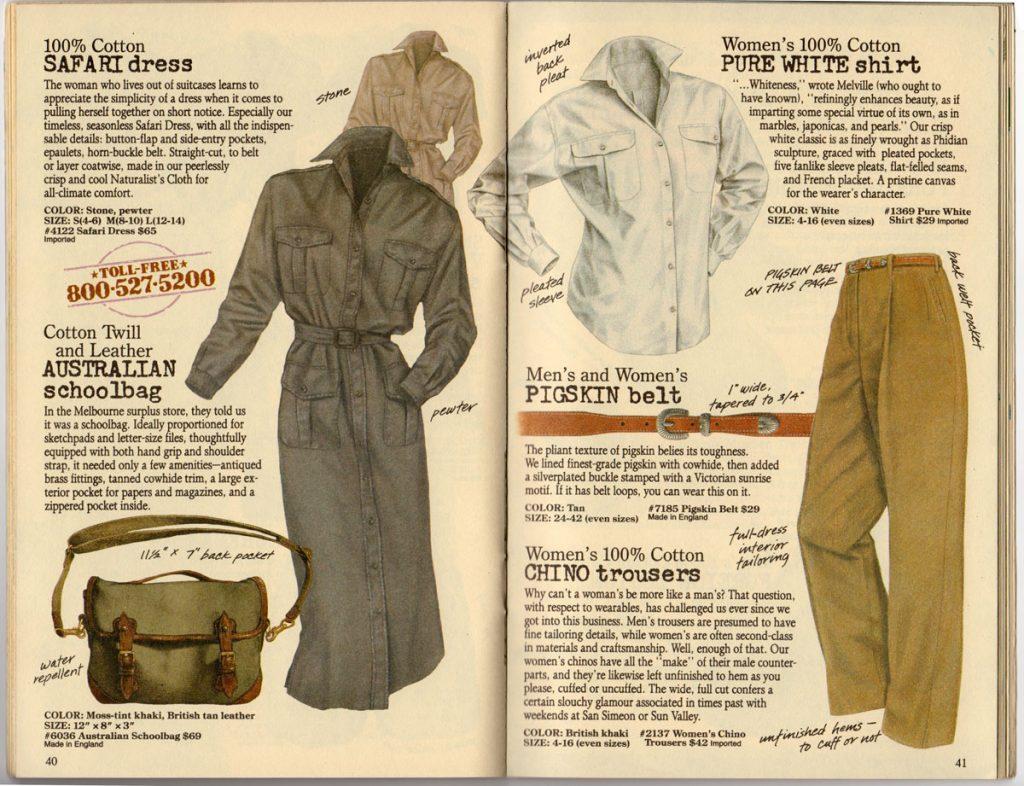 Banana Republic Spring 1987 Safari Dress, Australian Schoolbag, Pure White Shirt, Pigskin Belt, Women's Chino Trousers