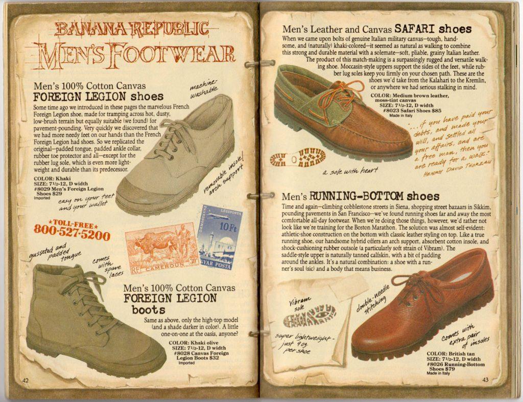 Banana Republic Spring 1987 Men's Footwear