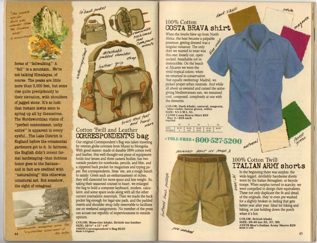 Banana Republic Spring 1987 Correspondent's Bag, Costa Brava Shirt, Italian Army Shorts