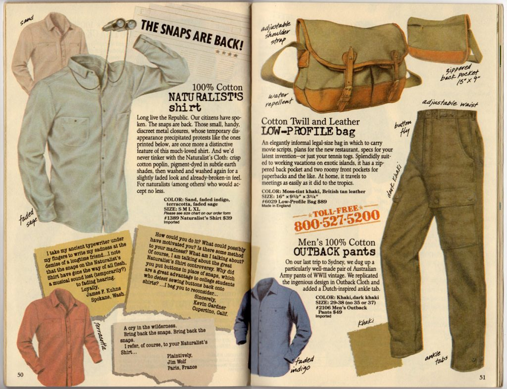 Banana Republic Spring 1987 Naturalist's Shirt, Low-Profile Bag, Men's Outback Pants