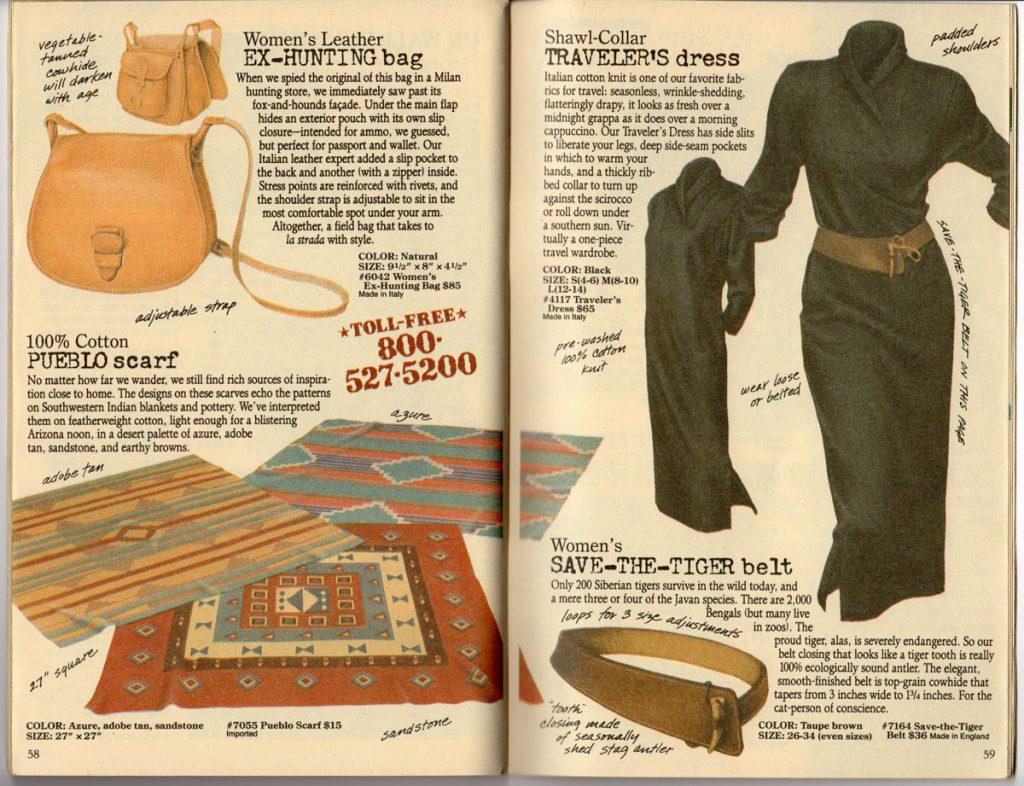 Banana Republic Spring 1987 Ex-Hunting Bag, Pueblo Scarf, Traveler's Dress, Save-The-Tiger Belt