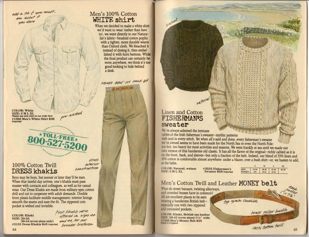 Banana Republic Spring 1987 Men's White Shirt, Dress Khakis, Fisherman's Sweater, Money Belt