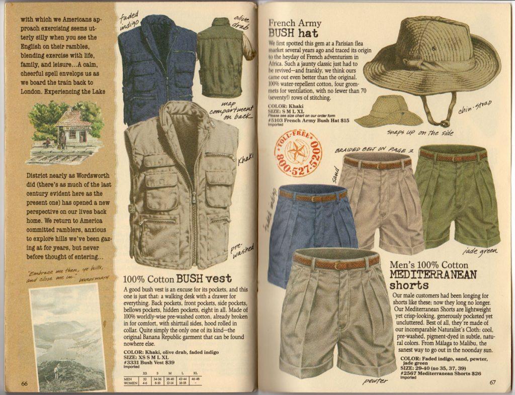 Banana Republic Spring 1987 Cotton Bush Vest, Mediterranean Shorts, French Army Bush Hat