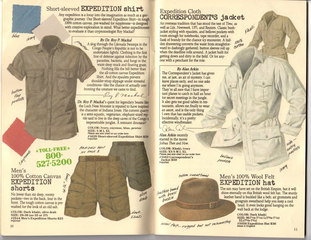 Banana Republic Spring 1987 Expedition Shirt, Shorts, Hat, Correspondent's Jacket